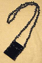 Black leather hematite amulet